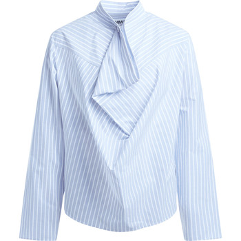 Clothing Women Shirts Mm6 Maison Margiela Camicia  a righe bianche e azzurre Light blue