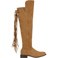 Shoes Women Boots Krisp Tassel Knee High Boots Brown