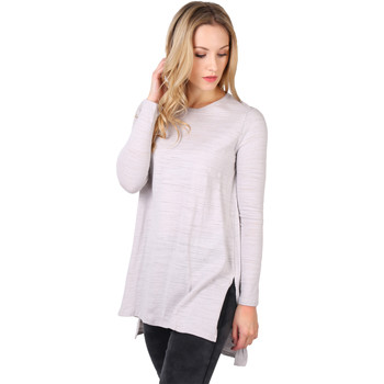 Clothing Women Long sleeved tee-shirts Krisp Longline Cotton Jersey Top Grey