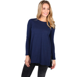 Clothing Women Long sleeved tee-shirts Krisp Longline Cotton Jersey Top Blue
