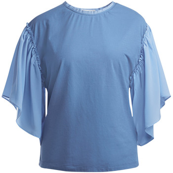 Clothing Women Tops / Blouses Semicouture Ozzy periwinkle blouse with sleeves flounces Light blue