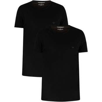 Clothing Men short-sleeved t-shirts Armani 2 Pack Pure Cotton Lounge T-Shirts black