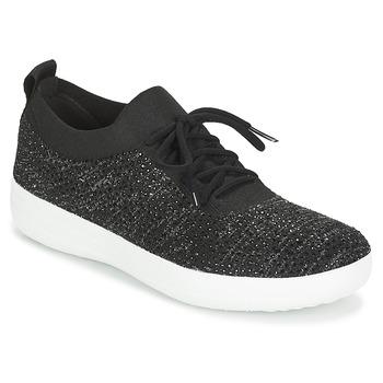 Shoes Women Low top trainers FitFlop F SPORTY UBERKNIT SNEAKERS CRYSTAL Black
