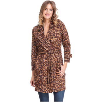 Clothing Women Trench coats Laura Moretti Trench coat GIZEL Leopard Woman Autumn/Winter Collection Leopard