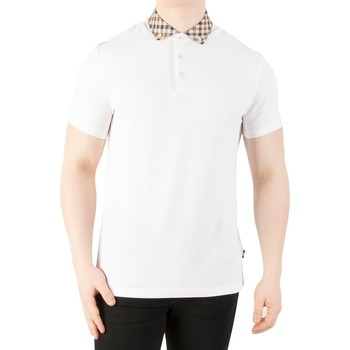 Clothing Men short-sleeved polo shirts Aquascutum Men's Coniston Collar Polo Shirt, White white