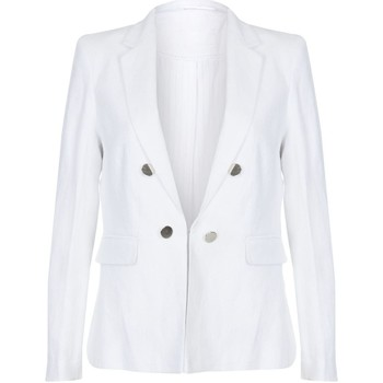 Clothing Women Jackets / Blazers Anastasia Cream  Linen Summer Blazer Jacket White