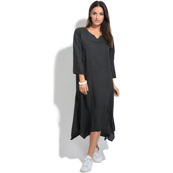 Clothing Women Long Dresses 100 % Lin Dress RODEO Anthracite Anthracite