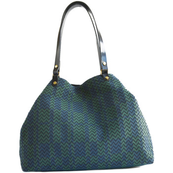 Bags Women Shopping Bags / Baskets Paulette Et Simone Large shopping bag in jacquard canvas JACQUARD VICTOIRE Green / Green