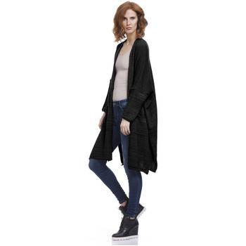 Clothing Women Jackets / Cardigans Tantra Long cardigan RHODES Black Woman Autumn/Winter Collection Black
