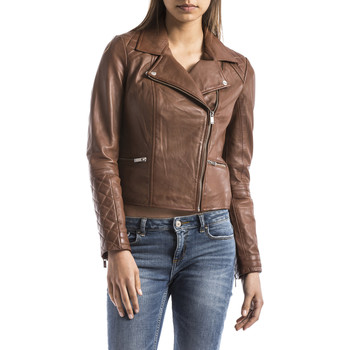 Clothing Women Leather jackets / Imitation leather Blue Wellford Leather jacket NILE Camel Woman Autumn/Winter Collection Camel