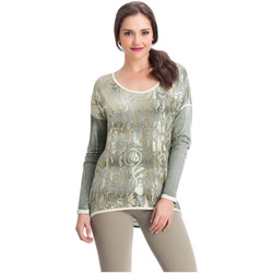 Clothing Women Tops / Blouses Laura Moretti Long sleeve top KYSHIA Green Woman Autumn/Winter Collection Green