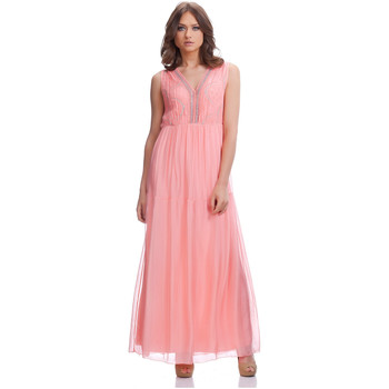 Clothing Women Long Dresses Laura Moretti Dress SHANA Coral Woman Autumn/Winter Collection Coral