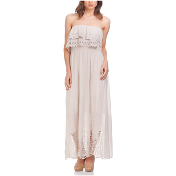 Clothing Women Long Dresses Laura Moretti Dress SHOULA Beige F Beige