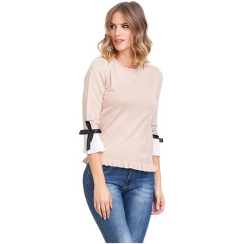 Clothing Women Tops / Blouses Laura Moretti Long sleeve top SEVYN Beige Woman Autumn/Winter Collection Beige