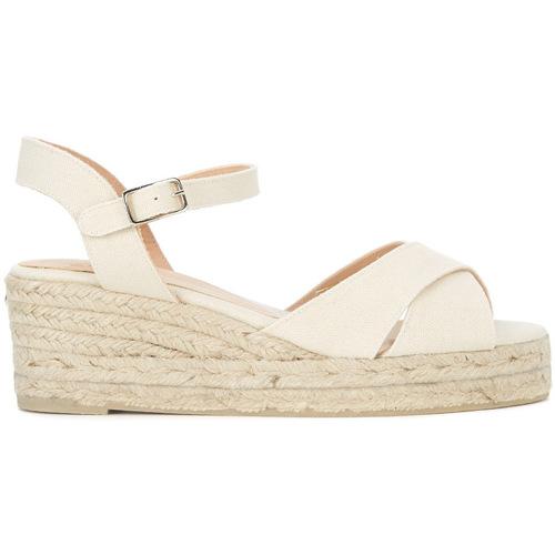 Shoes Women Sandals Castaner Blaudell light beige fabric wedge sandal White