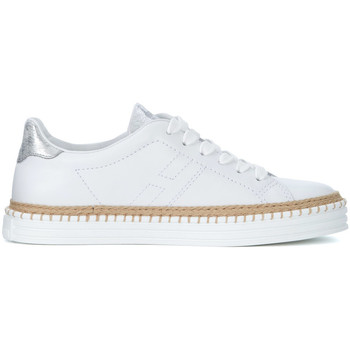 Shoes Women Trainers Hogan R260 silver and white leather sneaker White