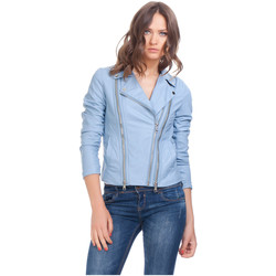 Clothing Women Leather jackets / Imitation leather Laura Moretti Jacket TURNER Blue Woman Autumn/Winter Collection Blue