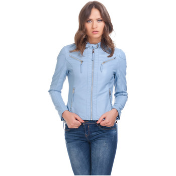 Clothing Women Leather jackets / Imitation leather Laura Moretti Jacket TEEVY Blue F Blue