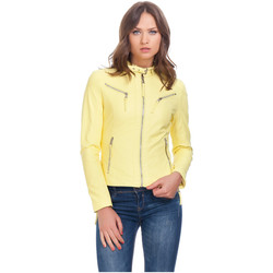 Clothing Women Leather jackets / Imitation leather Laura Moretti Jacket TEEVY Yellow Woman Autumn/Winter Collection Yellow