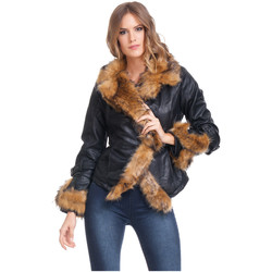 Clothing Women Jackets Laura Moretti Jacket STAINS Black / Brown Woman Autumn/Winter Collection Black