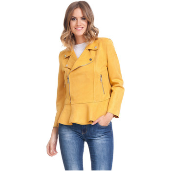 Clothing Women Jackets Laura Moretti Jacket LAGOS Mustard Woman Autumn/Winter Collection Mustard