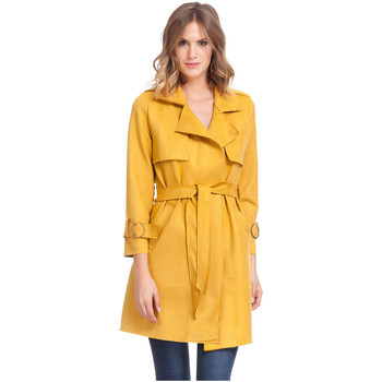 Clothing Women Trench coats Laura Moretti Trench coat LINETTE Mustard Woman Autumn/Winter Collection Mustard