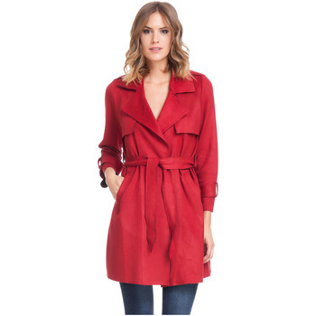 Clothing Women Trench coats Laura Moretti Trench coat LINETTE Burgundy Woman Autumn/Winter Collection Burgundy