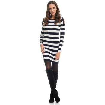 Clothing Women Dresses Tantra Dress MARIE White / Navy blue Woman Autumn/Winter Collection White