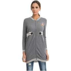 Clothing Women Jackets / Cardigans Tantra Long cardigan LUCY Grey / White F Grey