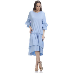 Clothing Women Short Dresses Tantra 3/4 Sleeve Solid Dress SARAH Blue Woman Spring/Summer Collectio Blue