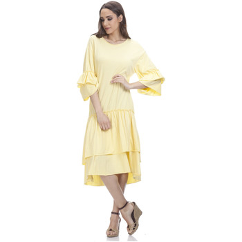 Clothing Women Short Dresses Tantra 3/4 Sleeve Solid Dress SARAH Yellow Woman Spring/Summer Collect Yellow
