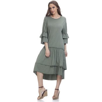 Clothing Women Short Dresses Tantra 3/4 Sleeve Solid Dress SARAH Khaki Woman Spring/Summer Collecti Khaki