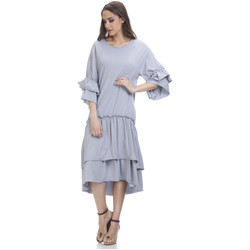 Clothing Women Short Dresses Tantra 3/4 Sleeve Solid Dress SARAH Grey Woman Autumn/Winter Collectio Grey