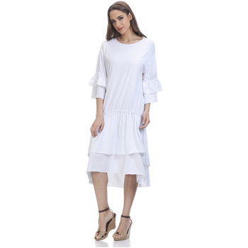 Clothing Women Short Dresses Tantra 3/4 Sleeve Solid Dress SARAH White Woman Spring/Summer Collecti White