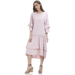 Clothing Women Short Dresses Tantra 3/4 Sleeve Solid Dress SARAH Fuchsia Woman Spring/Summer Collec Pink