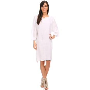 Clothing Women Long Dresses 100 % Lin Dress VALENTINE White White