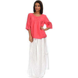 Clothing Women Tops / Blouses 100 % Lin Top CERISE Coral Coral