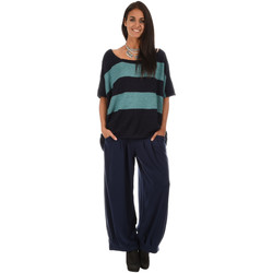 Clothing Women jumpers Bella Blue Pullover AMANDA Navy blue / Turquoise Woman Autumn/Winter Colle Navy blue