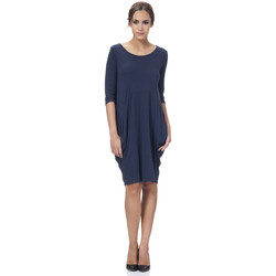 Clothing Women Long Dresses Tantra Solid round neck cotton dress ALICIA Navy blue Woman Autumn/Win Navy blue
