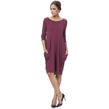 Clothing Women Long Dresses Tantra Solid round neck cotton dress ALICIA Burgundy Woman Autumn/Wint Burgundy
