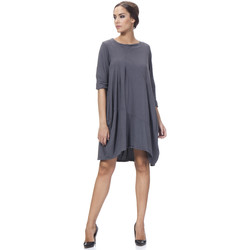 Clothing Women Long Dresses Tantra Round neck cotton dress RITA Dark grey Woman Autumn/Winter Coll Dark grey