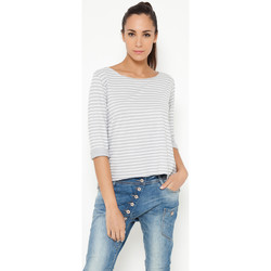 Clothing Women Tops / Blouses Tantra Top PRUNE Grey / White F Grey