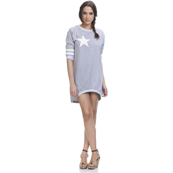 Clothing Women Short Dresses Tantra 3/4 sleeve cotton dress JENNA Grey Woman Spring/Summer Collecti Grey