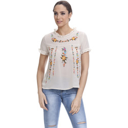Clothing Women Tops / Blouses Tantra Printed top Embroidered effect GABY Beige Woman Autumn/Winter C Beige