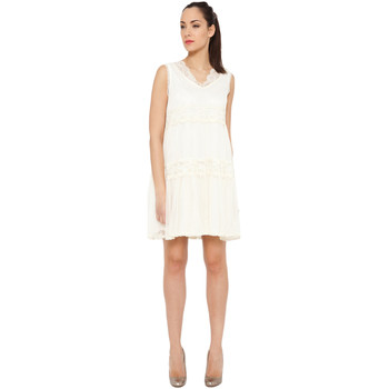 Clothing Women Short Dresses Tantra Solid dress Embroidered effect SHANNA Off white Woman Autumn/Wi Off white