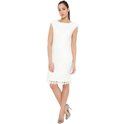 Clothing Women Short Dresses Tantra Solid dress Embroidered effect WINONA White Woman Autumn/Winter White