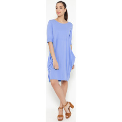 Clothing Women Short Dresses Tantra Solid round neck cotton dress NINON Sky blue Woman Autumn/Winte Sky blue