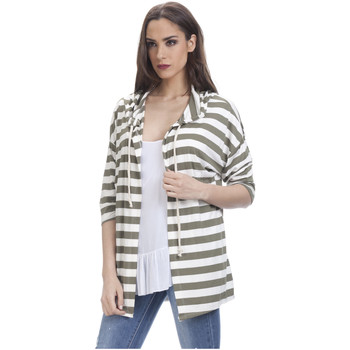Clothing Women sweaters Tantra Printed jacket SARAH Khaki / White Woman Spring/Summer Collecti Khaki