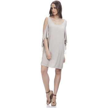 Clothing Women Short Dresses Tantra Round neck dress OCEANE Grey Woman Spring/Summer Collection Grey