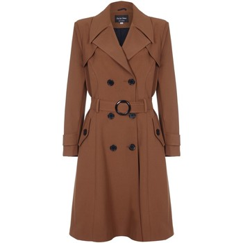 Clothing Women coats De La Creme - Brown Womens Spring Belted Trench Coat Brown